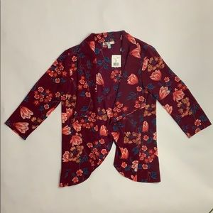 🌹Moa Moa Burgundy and Peach Light Floral Blazer